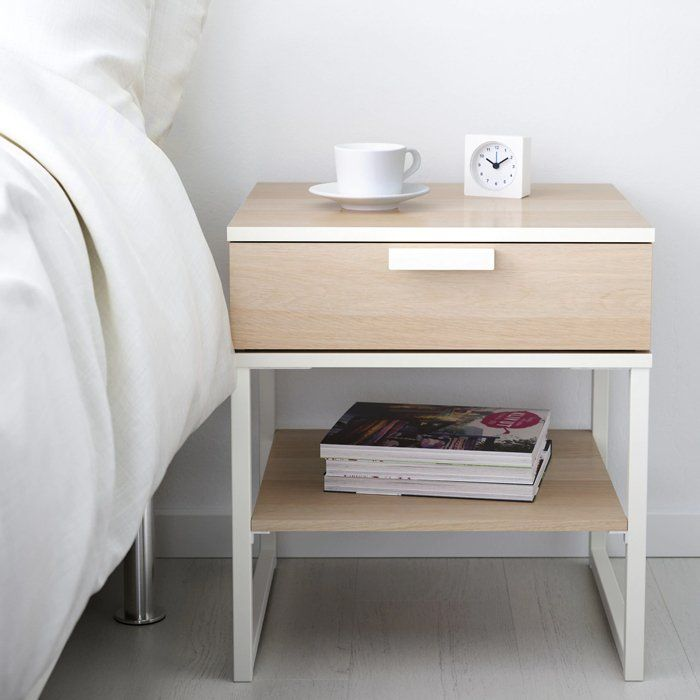IKEA Trysil bedside table, white stained oak effect, white in Auckland NZ. - Idiya Ltd