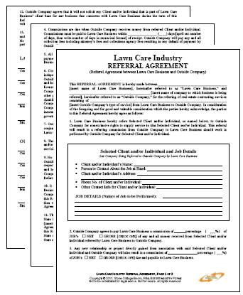 Lawn Maintenance Business Referral Agreement   Lawn