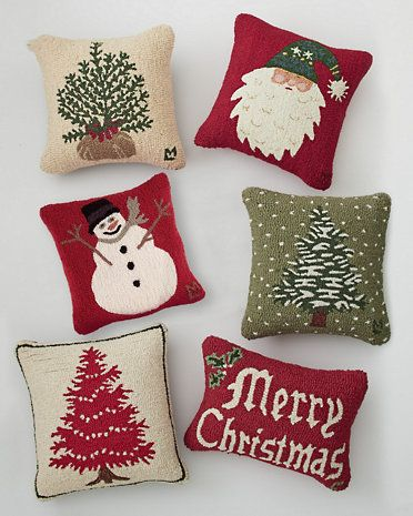 Hooked Wool Holiday Pillow Cover Collection