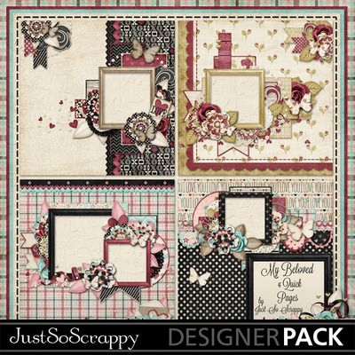 My Beloved Valentine Digital Scrapbook Kit, Love, Shabby, Kiss, Holiday, Season, Quick Pages