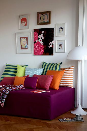 Daybed cover in Fuchsia Panama Cotton from Bemz Wall beds and