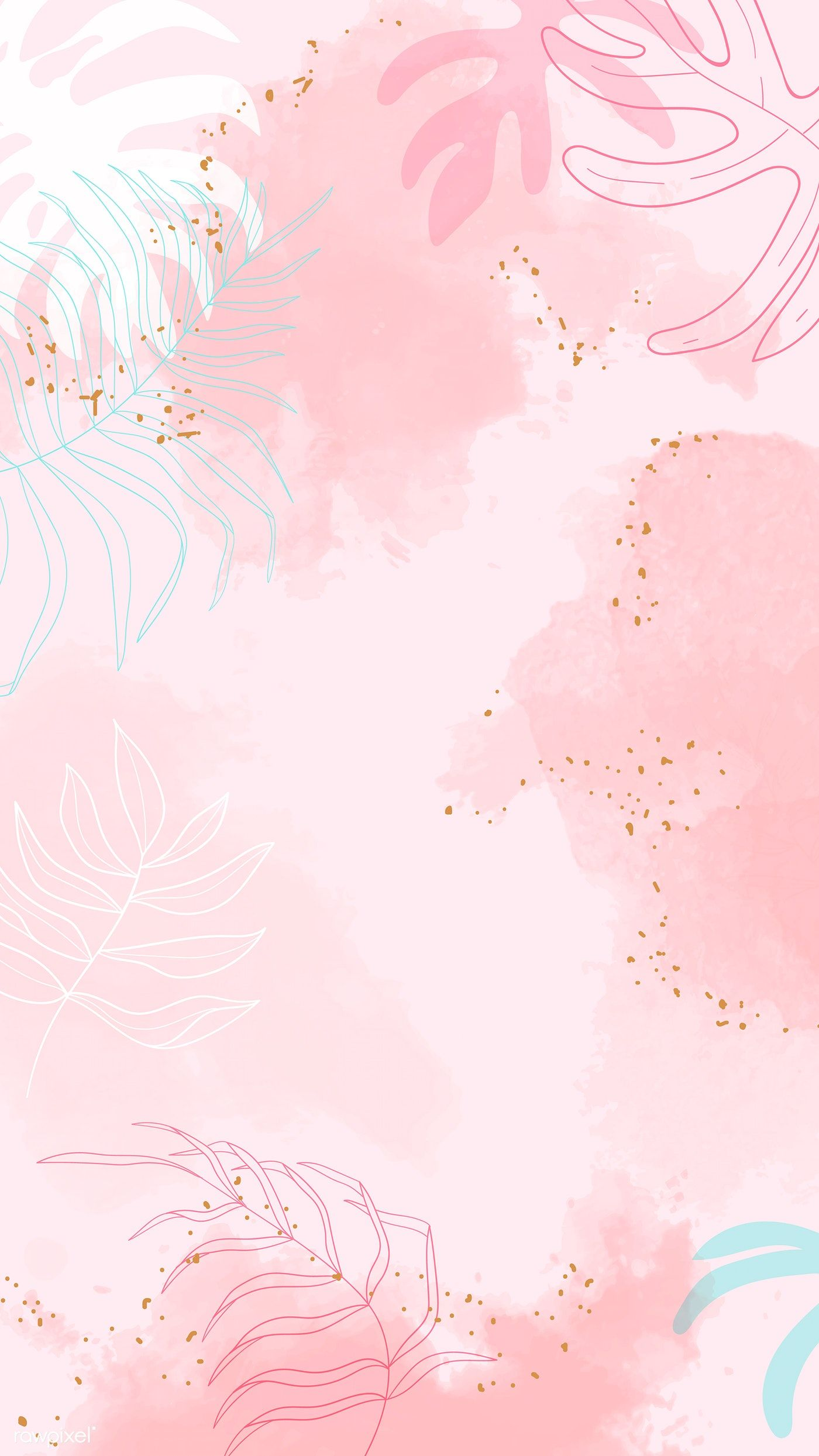 Download premium vector of Pink leafy watercolor