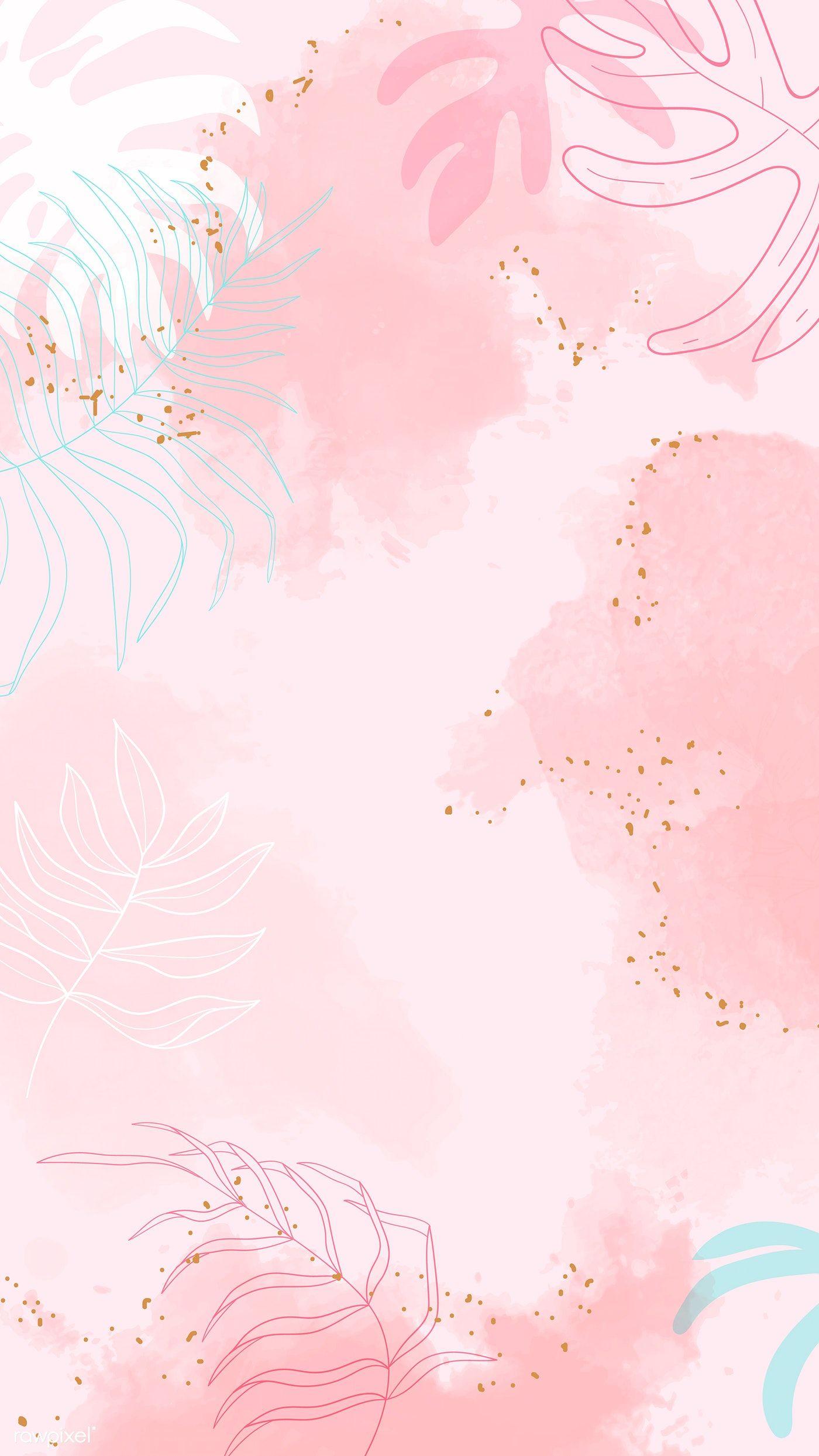 Download Premium Vector Of Pink Leafy Watercolor Background Vector 1222742 Floral Watercolor Background Pastel Background Wallpapers Watercolor Background