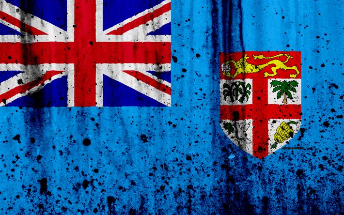 Download Wallpapers Fiji Flag 4k Grunge Of Oceania