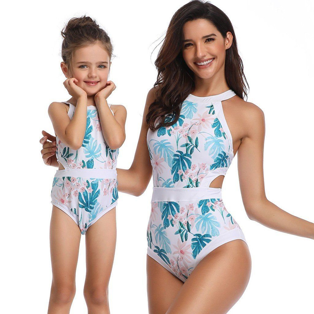 Family Matching Swimsuit Floral Printed One Piece Swimwear Mother Daughter Swimsuit Monokini Beach Bath Suit