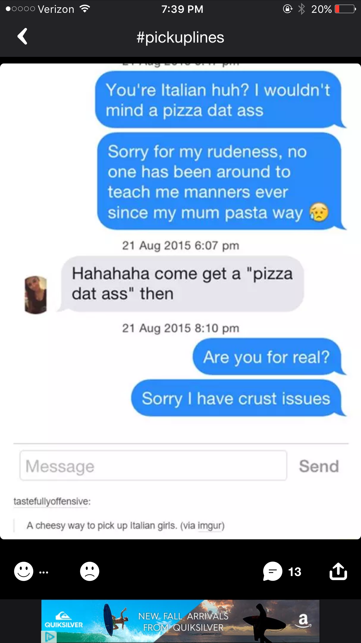 Pin By Frank Morgan On Plines Pick Up Lines Funny Funny Text Conversations Funny Dating Memes