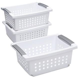 The Container Store Stacking Baskets With Handles Stacking Basket Basket Stackable Laundry Baskets
