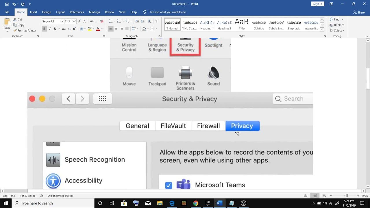 Macos Catalina Unable To Share Screen Microsoft Teams Screen Sharing Not Working After Catalina Update Microsoft Screen Catalina