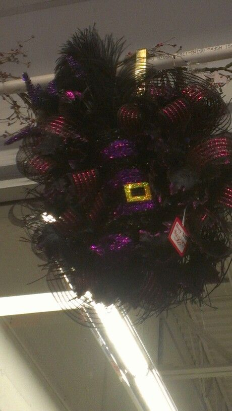 Witches boot wreath by WonderArtStudio