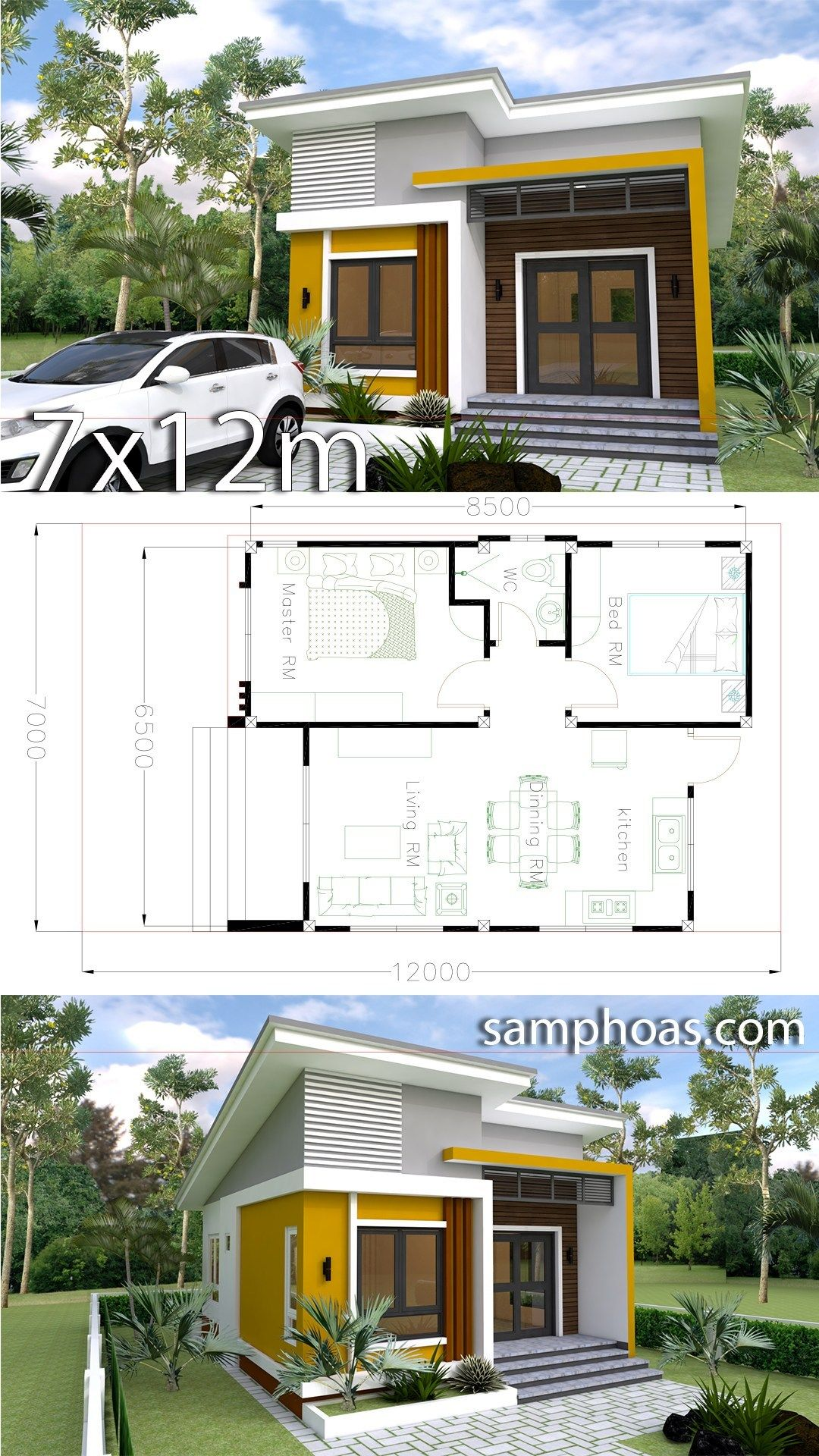 Small Home Design Plan 6 5x8 5m With 2 Bedrooms Croquis