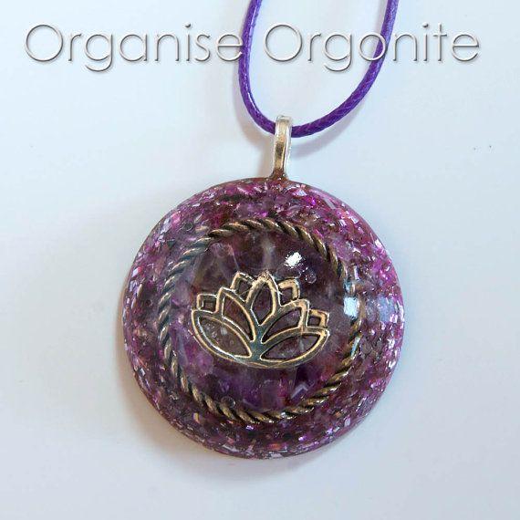 Lotus Orgonite Pendant by OrganiseOrgonite on Etsy