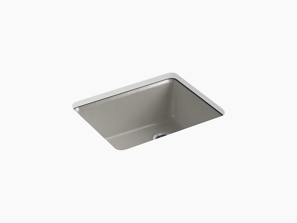 Kohler K 5872 5ua1 Riverby 25 Cast Iron Kitchen Sink Undermount Single Bowl Kitchen Sink With Sink Rack Cast Iron Kitchen Sinks Utility Sink Single Bowl Kitchen Sink