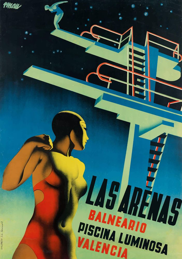 1932 SPAIN Illuminated Swimming Pool Advertising Poster