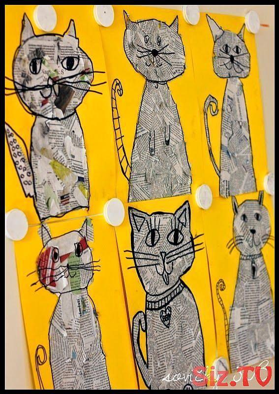 Photo of Hacer gato con papel de periódico: aula de arte, collage de periódicos, periódico Cr …, #arte #a …