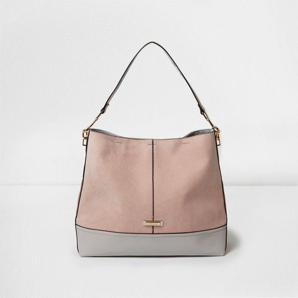 60ac9e4a3710 River Island Light pink panel slouch underarm bag ( 66) ❤ liked on Polyvore  featuring bags