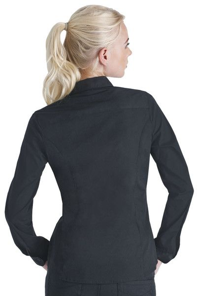 9389de28 Back of the Long Sleeve Black Button Down Shirt - Dickies Girl ...