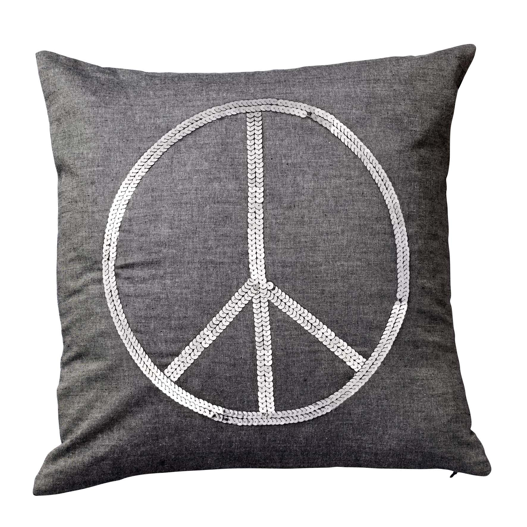 Grey Cushion With Silver Sequin Peace Sign From Bloomingville Www