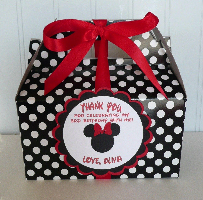 Minnie Mouse Red Black Birthday Favor Box Set Of 10 2000 Via