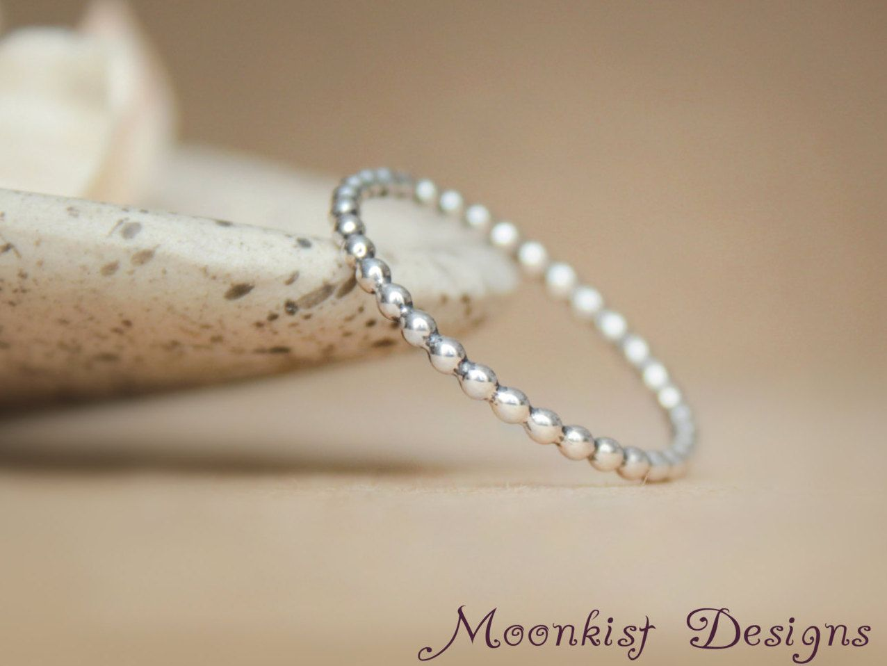 Sterling Silver Simple Beaded Ring