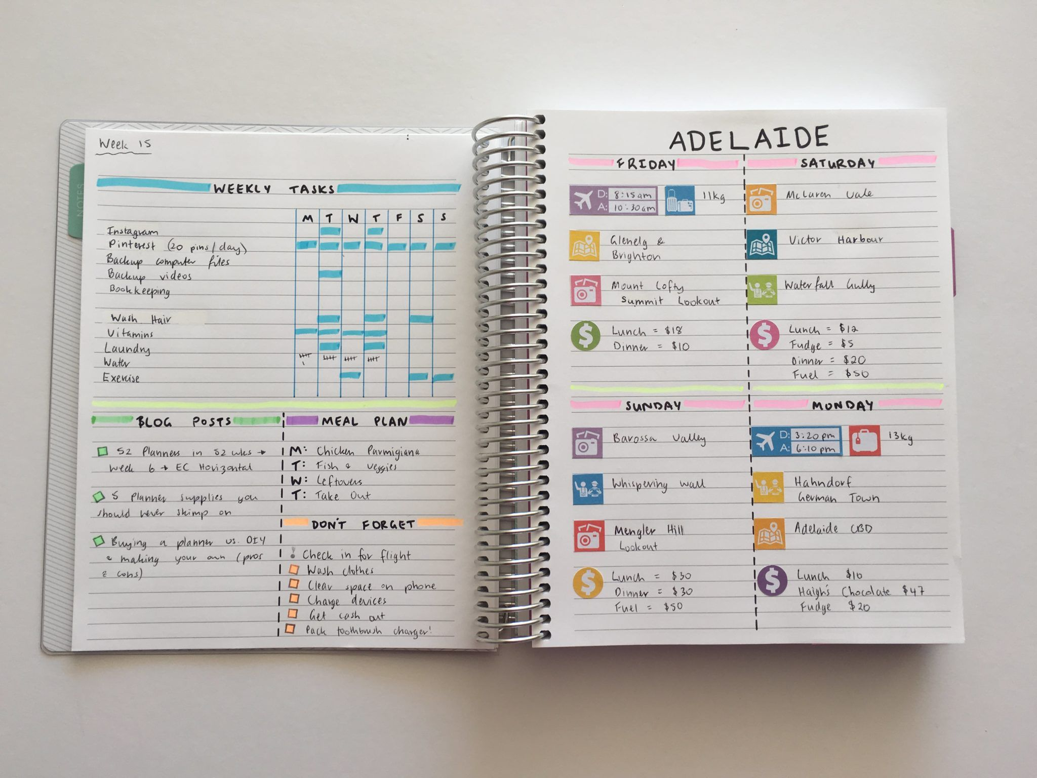 plan with me bullet journalling with stickers bullet journal inspiration inspired bujo weekly spread simple minimal color coding ideas planner problem