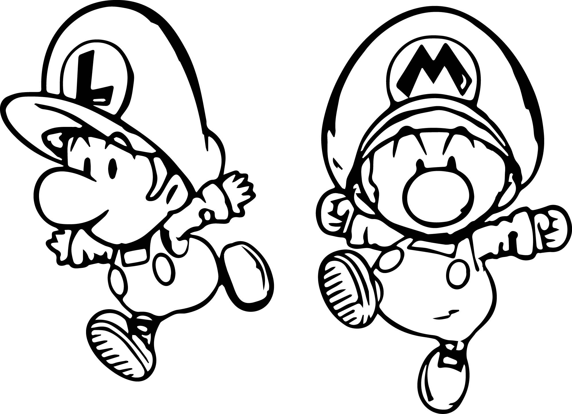 Nice Super Mario And Luigi Mini Child Coloring Page Super Mario