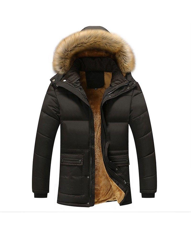 Hooded Thicken Parka Faux Fur Men/'s Outwear Coat Padded Warm Cotton Jacket