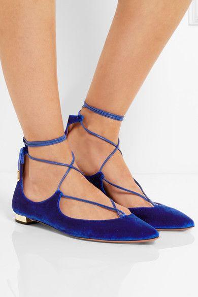 footlocker for sale clearance marketable Aquazzura Christy Velvet Flats cheap outlet CqlMPumti