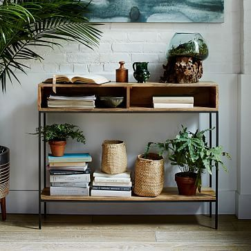 Industrial Storage Skinny Console Industrial Storage Living Room Design Diy Open Console