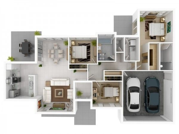 3 Bedroom Apartment House Plans Garage House Plans House Plans Bedroom House Plans