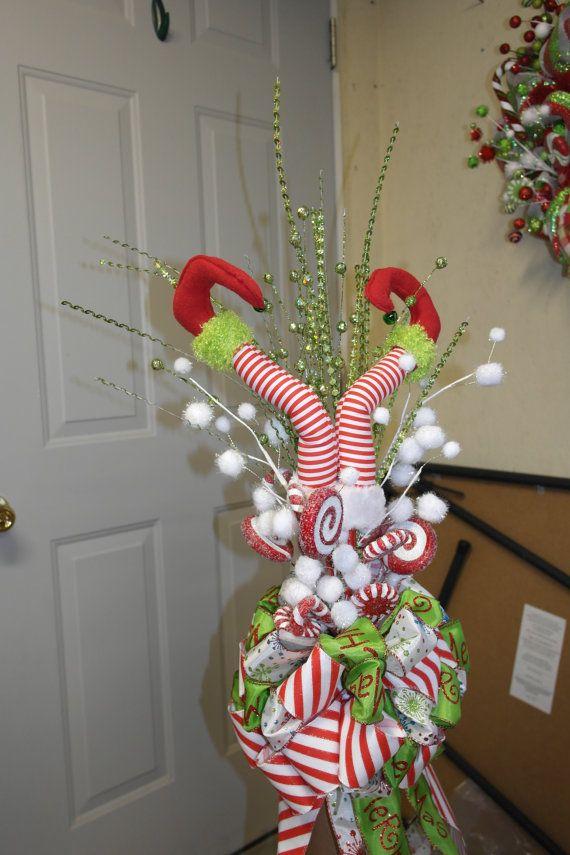Elf Legs Christmas Tree Topper by DecoMeshObsession on Etsy, $65.00