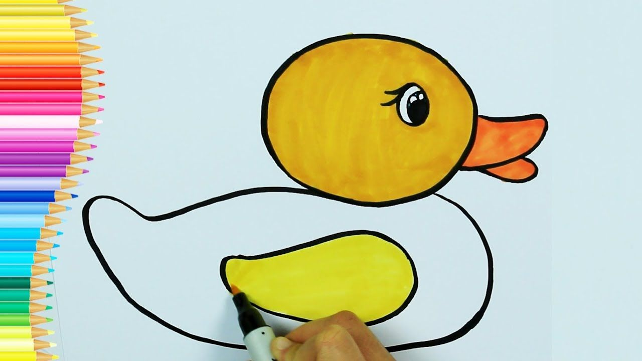 How To Draw Yellow Duck Ambulance Drawing And Painting How To Color Coloring For Children Youtube Coloring For Kids Doodles Drawings