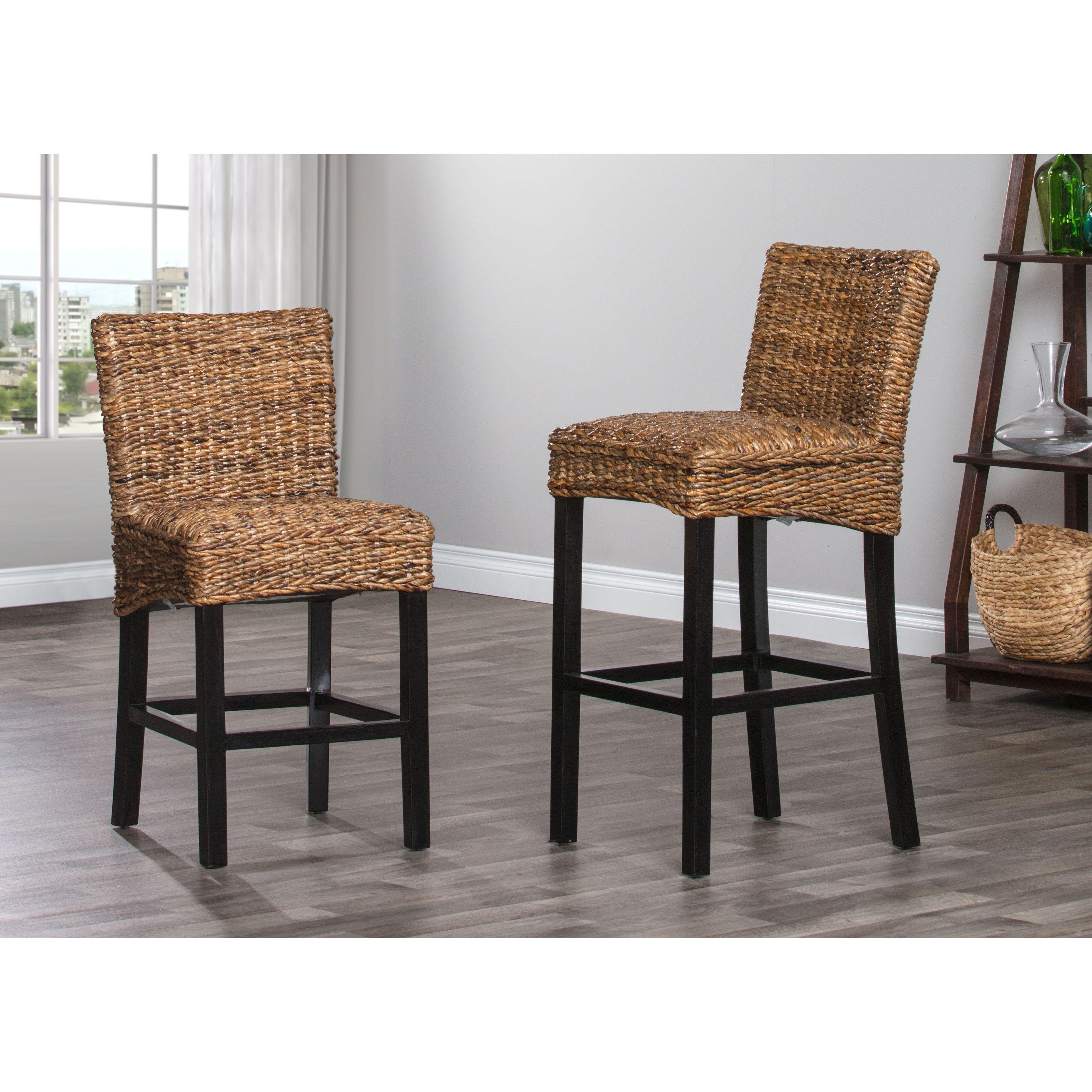 24 Inch Counter Chairs Target Bean Bag Toddler Portman Rattan Stool By Kosas Home Black Wood