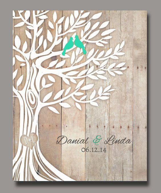 Personalized Wedding Gift, Love Birds in Tree, Newly Weds Gift Family Tree Art, Names Wedding Date, Poster