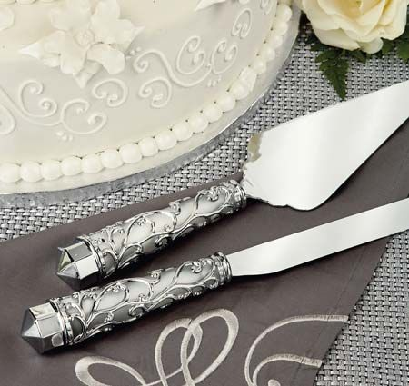 This Stunning Wedding Cake Knife And Server Set Features Frosted Glass Handles That Are Covered In