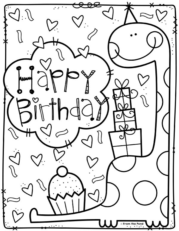 Coloring Club From The Pond Birthday Coloring Pages Happy Birthday Coloring Pages Dinosaur Coloring Pages