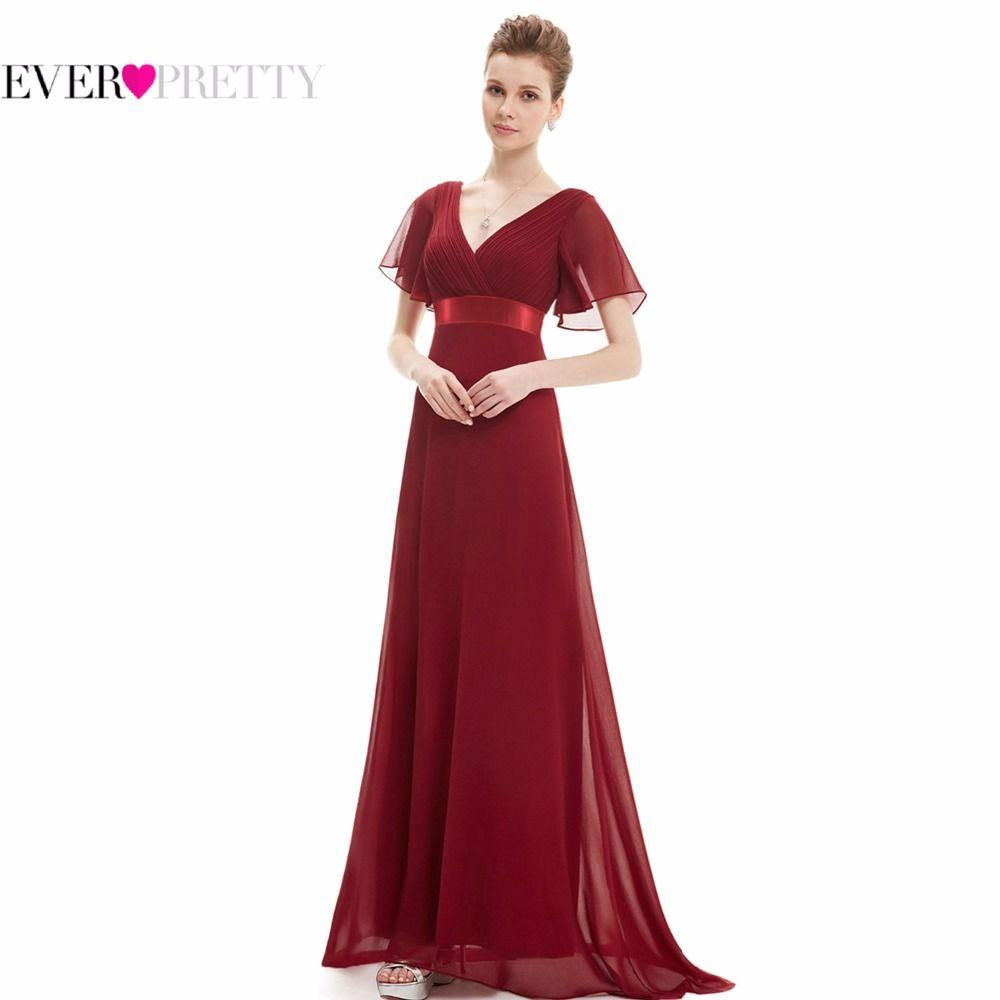 Evening dresses ep glamorous double vneck ruffles formal
