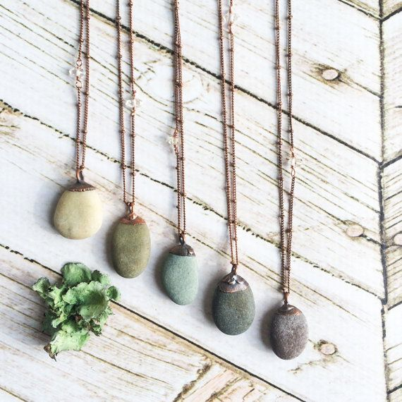 beach pebble necklace raw stone necklace beach stone necklace pebble pendant on copper. Black Bedroom Furniture Sets. Home Design Ideas