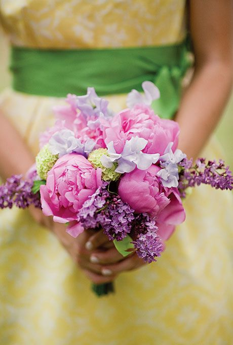Peonies, hydrangeas, lilacs, and sweet peas. All floral design was by Bergner and Johnson Design.Photo: Harrison Studio. #weddings