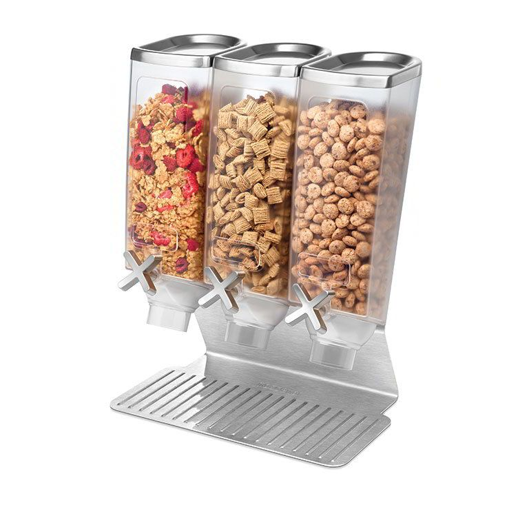 Rosseto Ez515 Triple 1 Gal Dry Product Dispenser With Stand 3 Gal Capacity Clear Stainless Buffet Stand Snack Dispenser Food