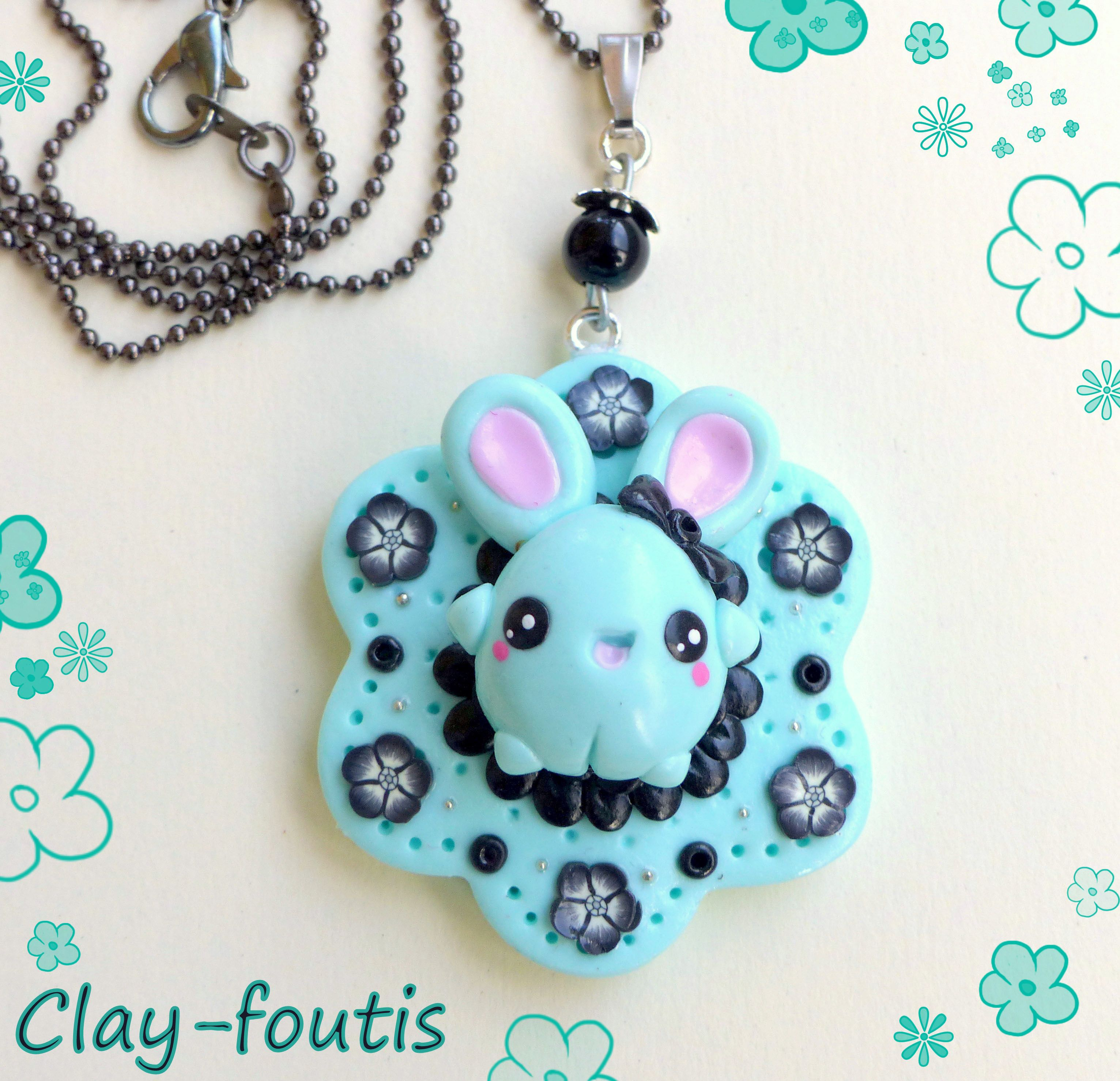 """collier à bidules"" lapin menthe fimo    http://clay-foutis.alittlemarket.com #fimo #cernit #polymerclay #patepolymere #lapin #bunny #kawaii #cute #sweet #mignon #pastel #bleu #blue #retro #kitsch #geek #emo #punk #goth #gothic #gothique #collier #necklace #faitmain #handmade"