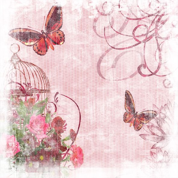 Vintage Pink Butterfly Garden 12x12 Digital Paper Background