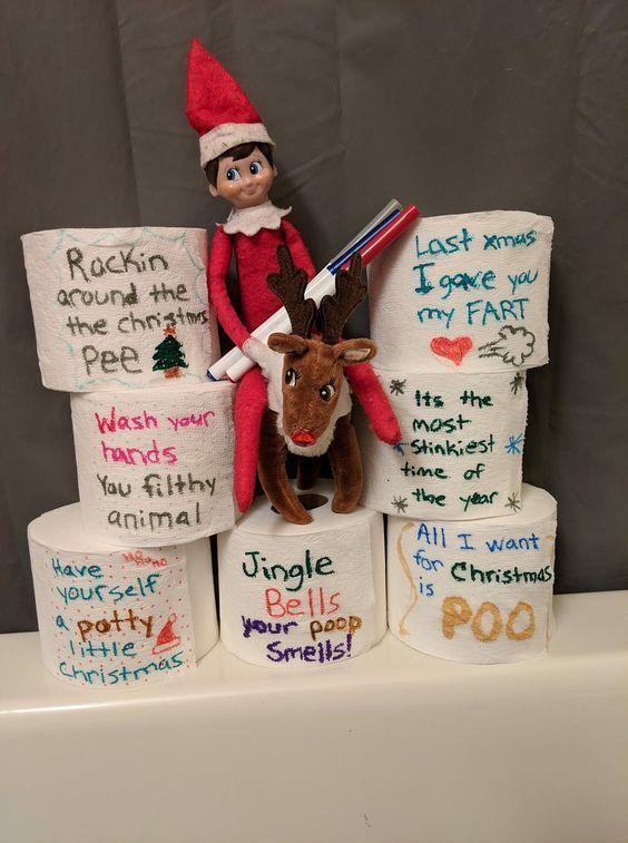 100 Hilarious Elf on the shelf ideas to cherish the sweet Smile on your Kid's Face ,  #cheris... #easyelfontheshelfideaslastminute
