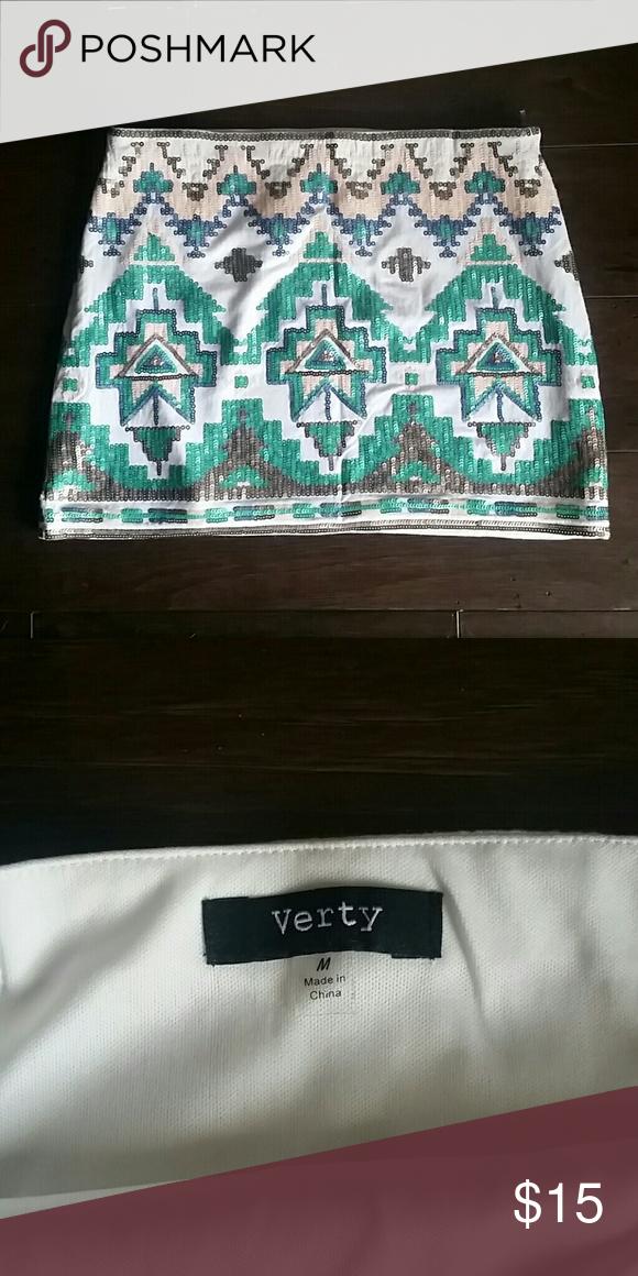 Skirt Aztec print, sequin skirt. From Francesca's. Verty Skirts Mini