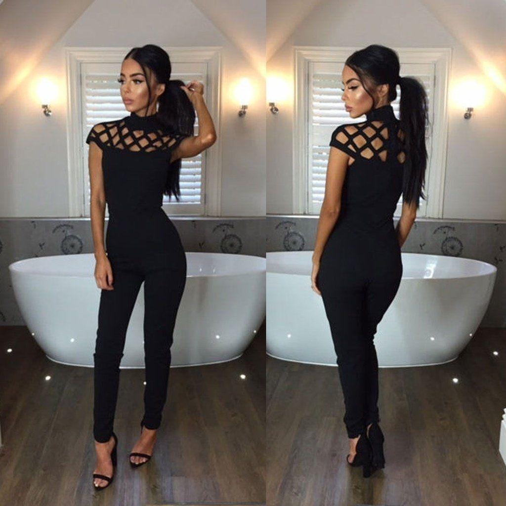 fd1425b498c Fashion Women Ladies Sleeveless Bodycon Romper Jumpsuit Club Bodysuit –  kats closet1
