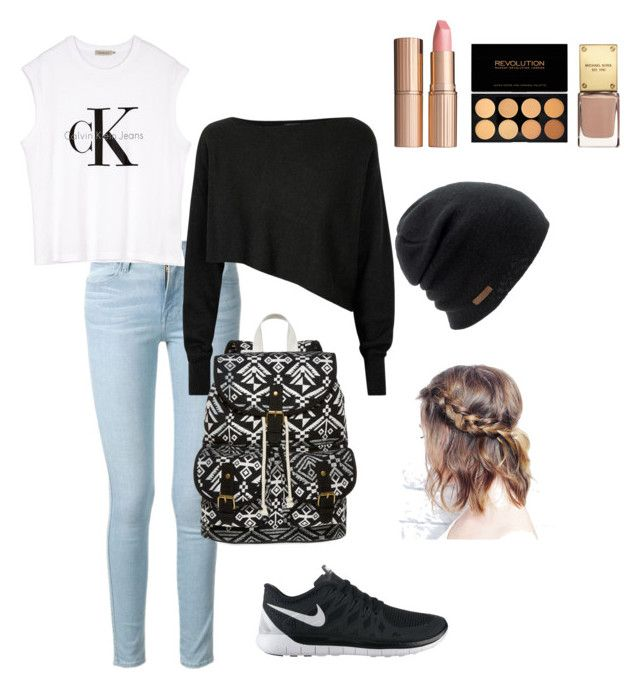 ~Back to school~ by crazytaylah-22 on Polyvore featuring Crea Concept, Calvin Klein, Frame Denim, NIKE, SM New York, Coal and Charlotte Tilbury