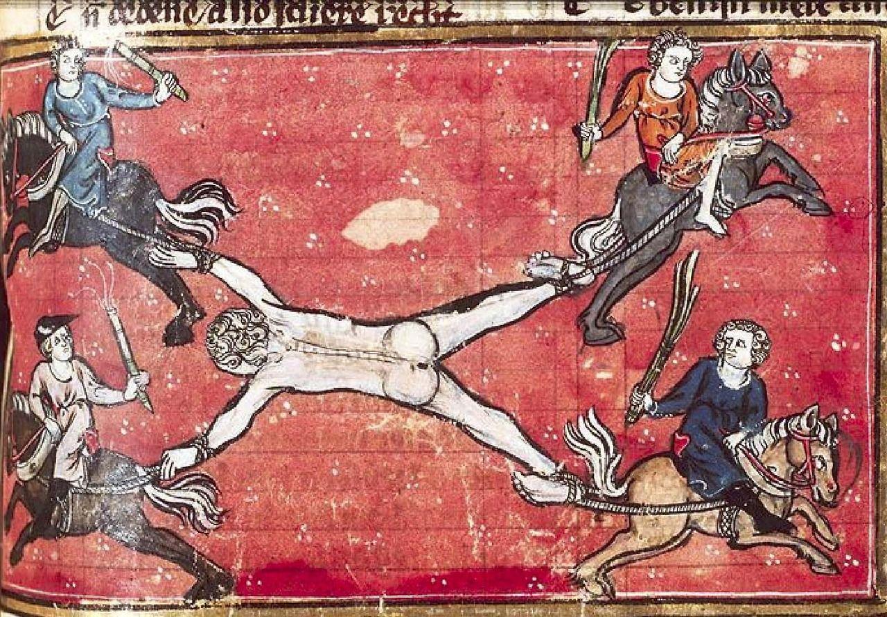 The Hague, KB, KA 20, f.216r (The traitor Ganelon drawn and quartered). Jacob van Maerlant, Spieghel Historiael. West Flanders; c. 1325-1335