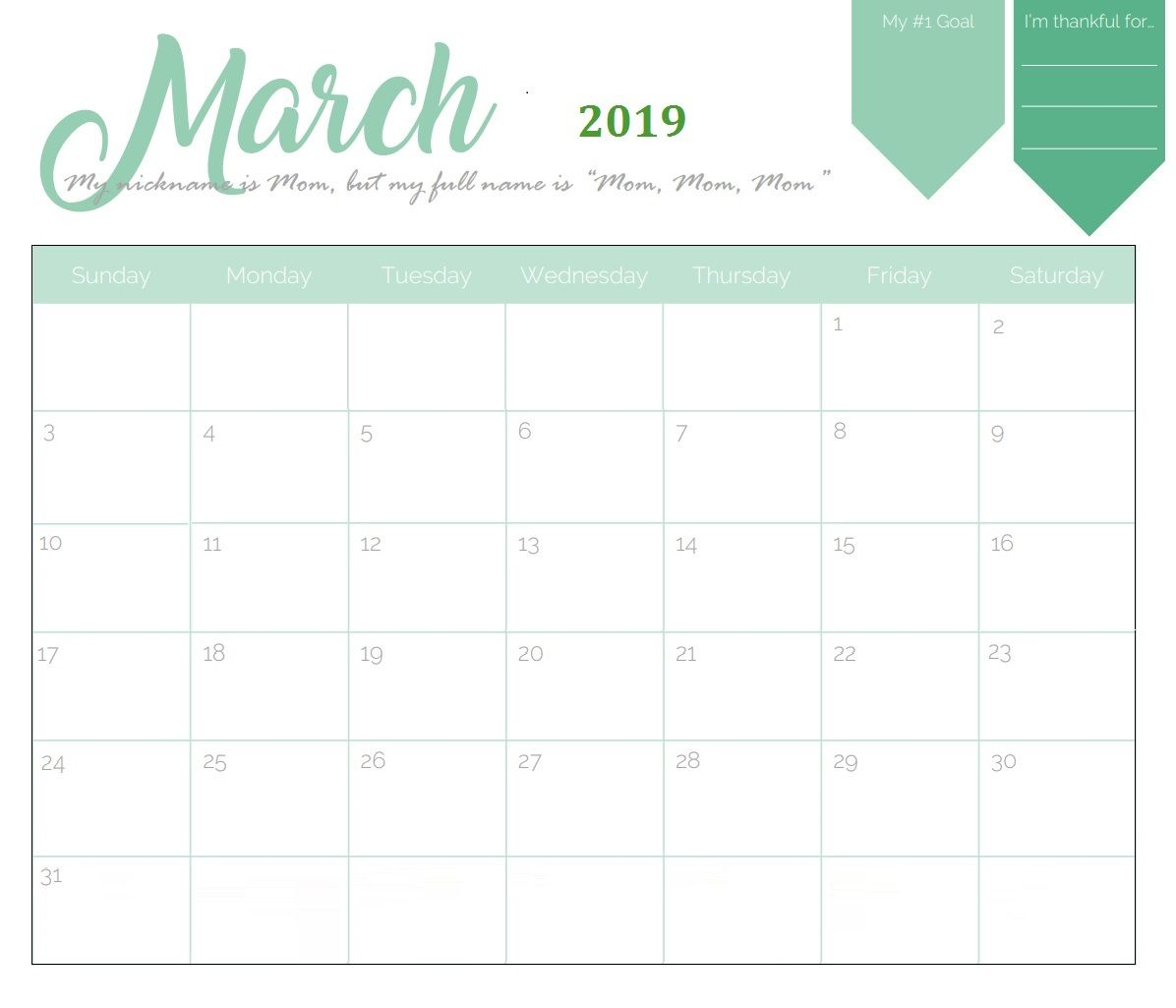 Calendar Template 2019 : Unique march calendar template in