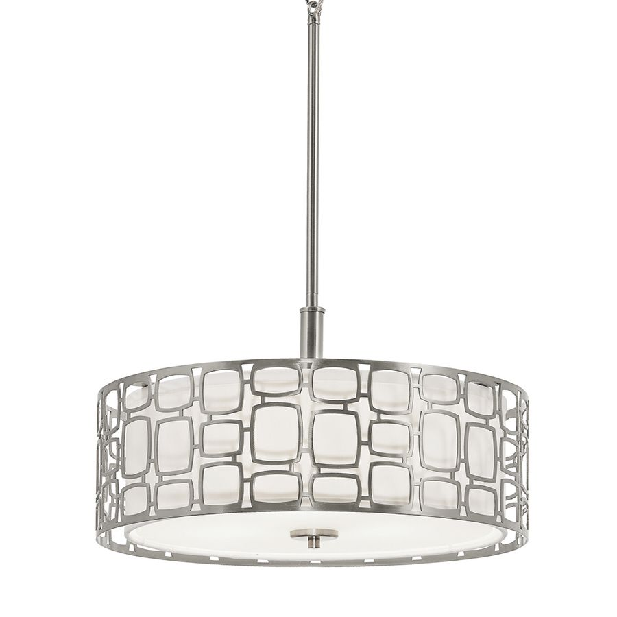 kichler brushed nickel pendant light with fabric shade - Brushed Nickel Dining Room Light