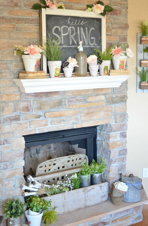 Camino Per La Casa vintage farmhouse spring mantel (con immagini) | design camino