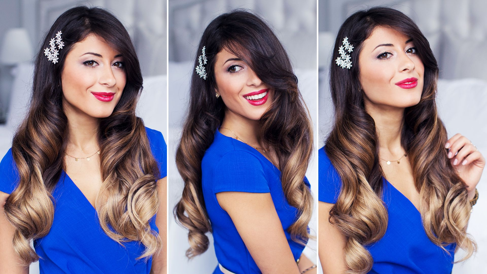 Glam holiday waves hairstyle perfect hollywood style soft waves